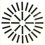 Nawiewnik wirowy NWK-2 600/32 płyta stal lakierowana proszkowo RAL9016, kierownice czarne w układzie okrągłym, mocowanie centralne