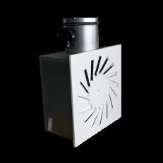 Nawiewnik NWK-3 400/16 z białymi kierownicami, płyta lakierowana proszkowo RAL9016, mocowanie centralne + skrzynka rozprężna z przepustnicą na króćcu dolotowym